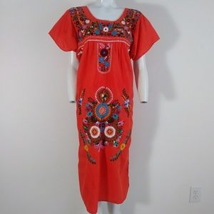 Vintage Mexican embroidered floral boho dress